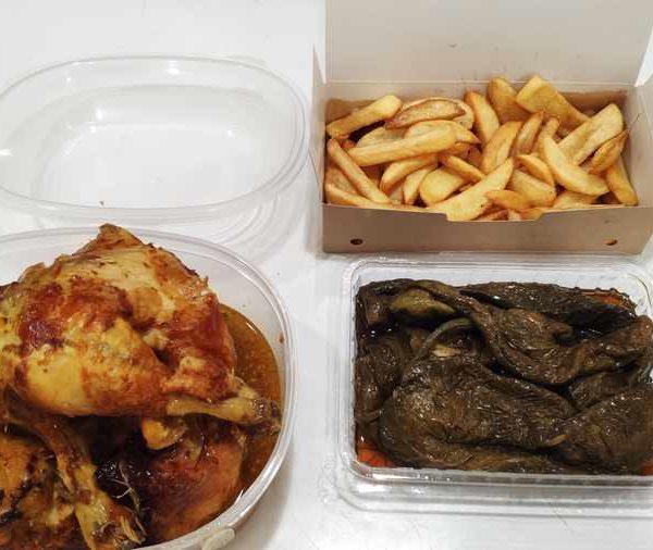 Combo Nº 1 Pollo Corral Asado + Patatas Fritas + Pimientos Verdes Fritos comida para llevar en rivas chicken