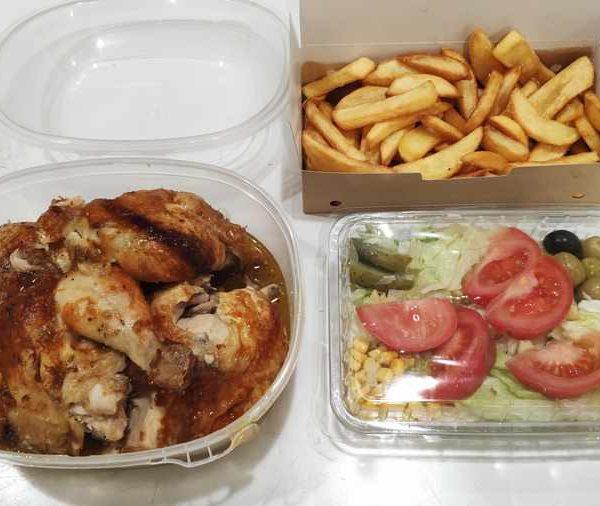 Combo Nº 2 Pollo Blanco Asado + Patatas Fritas + Ensalada Mixta comida para llevar en rivas chicken