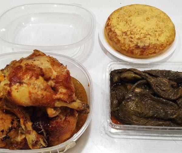 Combo Nº 2 Pollo Corral Asado + Tortilla de Patatas + Pimientos Verdes Fritos comida para llevar en rivas chicken