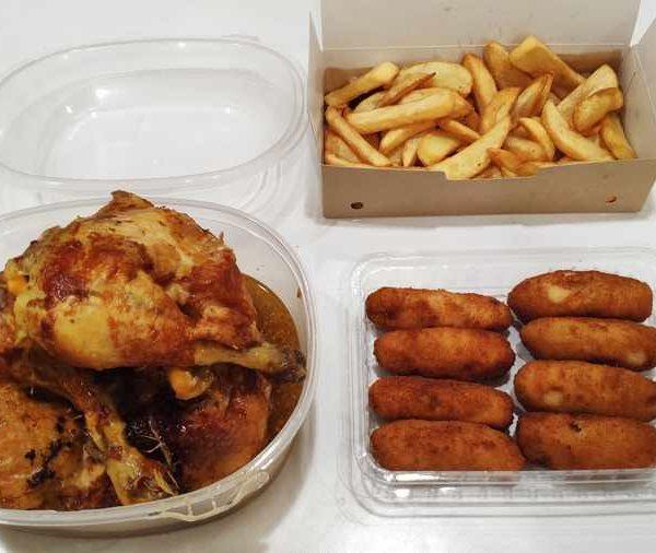 Combo Nº 3 Pollo Corral Asado + Patatas Fritas + 8 Croquetas Caseras comida para llevar en rivas chicken