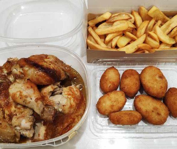 Combo Nº 4 Pollo Blanco Asado + Patatas Fritas y 6 Nuggets de pollo comida para llevar en rivas chicken