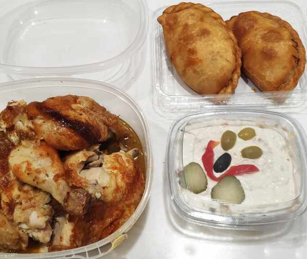 Combo Nº 6 Pollo Blanco Asado + 2 Empanadas + Ensaladilla rusa pequeña comida para llevar en rivas chicken